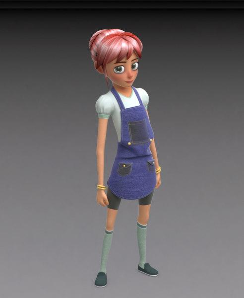 toon girl human model