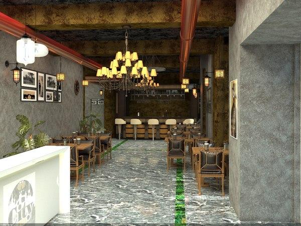 3D pub interior