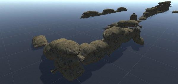 military sandbags bags 3D model