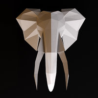 Elephant head low poly