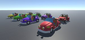games low-poly pack cars 3D model