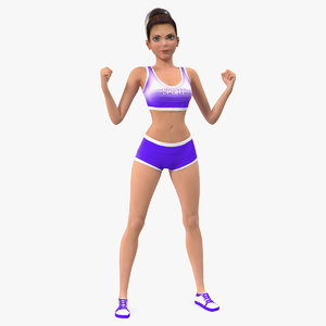 cartoon young girl sportive 3D model