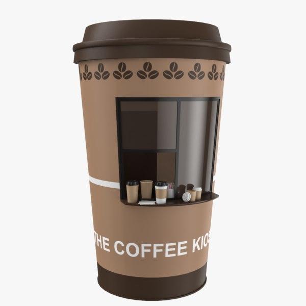 coffee kiosk sugar napkins 3D model