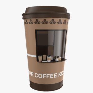 coffee kiosk sugar napkins 3D model