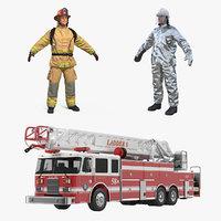 ladder truck firefighters 3D