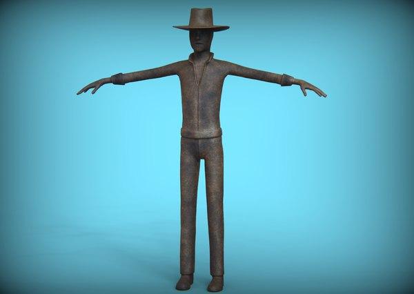 cowboy statue rust 3D model