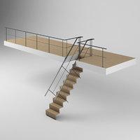 3D modern loft stairs railing model