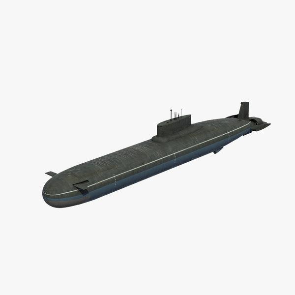 typhoon class submarine ssbn 3D model