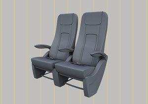 premium economy class seat 3D model