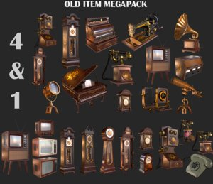 3D old phone clock television model