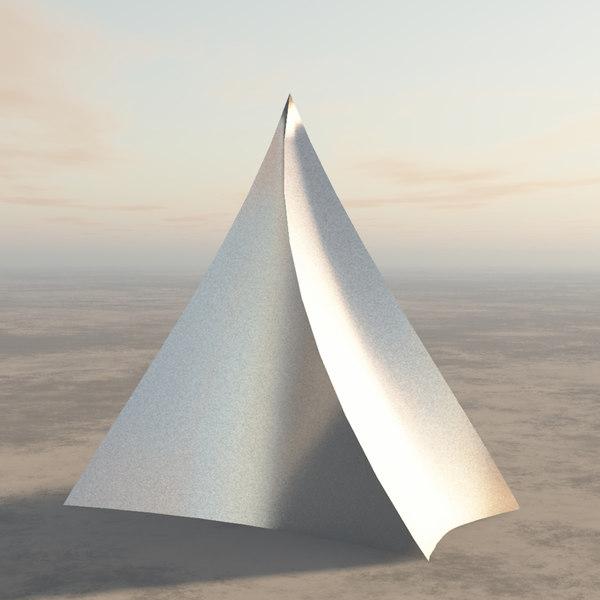 twisted pyramid futuristic building 3D