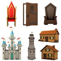 cartoon pack medieval door 3D model