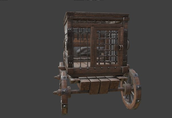 3D medieval caravan ancient transport