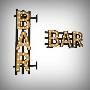 bulb bar sign 3D model