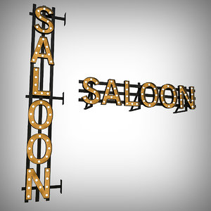 3D bulb sign saloon