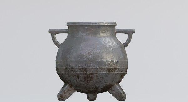 3D model cauldron medieval wtih pbr
