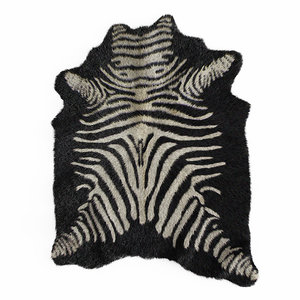 3D wool zebra rug black model