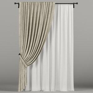beige curtain 3D
