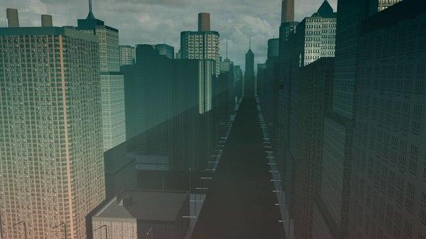 3D model city buildings skyline