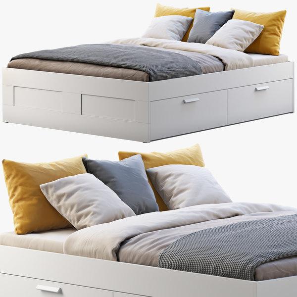 Ikea Brimnes Bed 3d Model Turbosquid, Ikea Brimnes Queen Bed With Storage