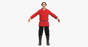3D model worker red shirt