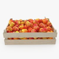 3D pears red wooden crate