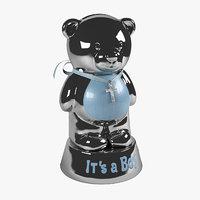 metal bear 2 coin 3D model