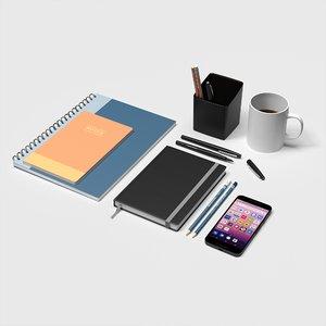 3D set office accessories model