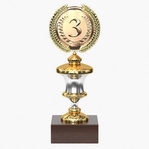 realistic trophy cup 18 3D model