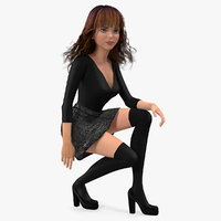 3D model cartoon young girl youth