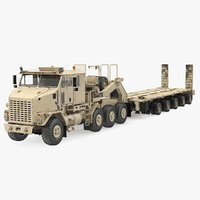 Desert Camouflage Oshkosh M1070 Truck with M1000 Semi-Trailer Dirty