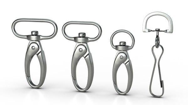 3D set 4 carabiners metal