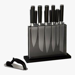 realistic black subway knife 3D