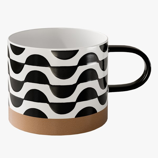 realistic luna blackandwhite mug model