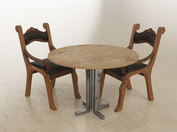 3D looking wooden chair table