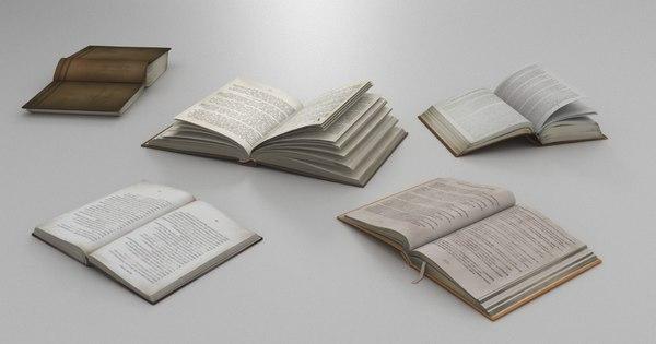 described open books 3D model