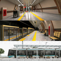3D subway tram station model