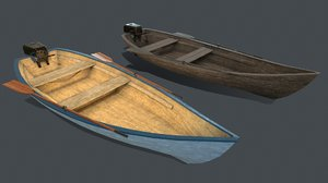 3D pbr wooden boat