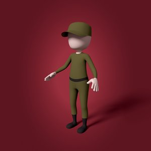3D cartoon soldier mesh