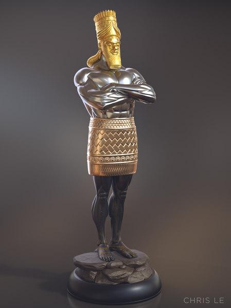 daniel 2 statue king 3D model
