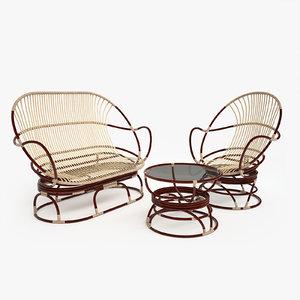 rattan furniture 3D