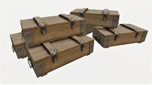 ammunition wood crates 02 3D model