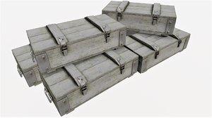 ammunition wood crates 03 3D model