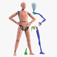 crash test dummy rigged character model