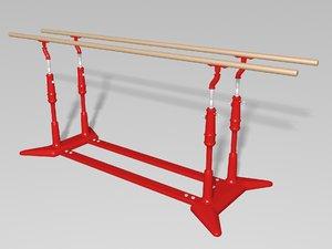 3D gymnastics parallel bars model