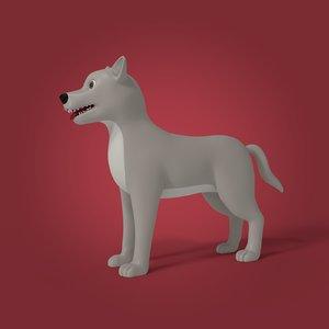 3D model cartoon gray wolf