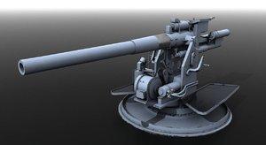 3D model qf gun viii naval