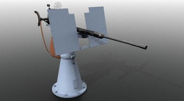 oerlikon cannon war 3D model