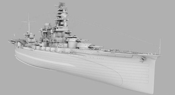 japanese battleship ise ship 3D model