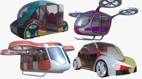 3D passenger drones 1 car model